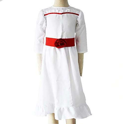 Zhucha Annabelle Cosplay Disfraz de Halloween Cos Costume Horror Scary Vestido Blanco para Niñas Mujeres Juego de Roles Manga Larga Rosa Roja Pajarita Vestido Largo Fancy Dress