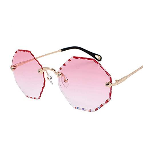 AMFG Gafas de sol con adornos de diamante Moda Tendencia Océano Piece Multicolor Sunglasses Rimless Viajes Vidrios de conducción al aire libre (Color : E)