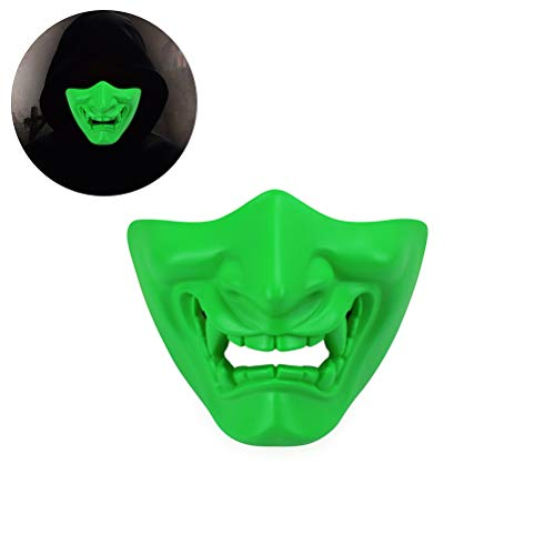 Yissma halfgelaatsmasker voor Halloween Cosplay Evil Demon Monster Kabuki Samurai Hannya Oni Halve Afdekking Airsoft en Prop Masker