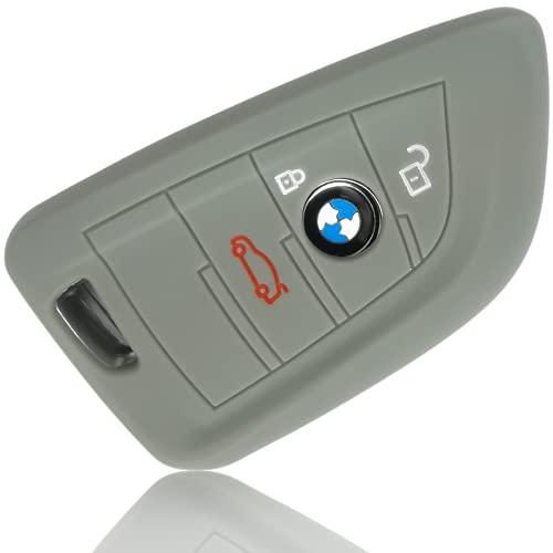 FoilsAndMore Hülle kompatibel mit BMW 3-4-Tasten Autoschlüssel (nur Keyless-Go) - Silikon Schutzhülle Cover Schlüsselhülle in Grau