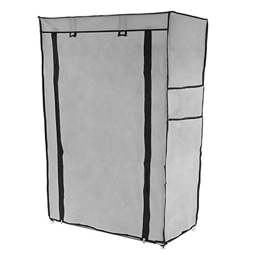 PrimeMatik - Armario ropero y Zapatero de Tela Desmontable 60 x 30 x 90 cm Gris con Puerta Enrollable