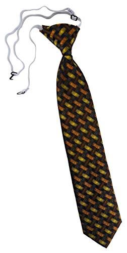 TigerTie Security Sicherheits Krawatte in orange gelb braun schwarz - Motiv Flechtmuster - vorgebunden mit Gummizug
