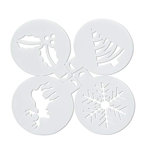 Coffee Stentil, SenPuSi 4PCS/Set Plastic Cafe Foam Spray Template Barista Stencils Decoration Tool Garland Mold Fancy Coffee Printing Snowflake elk Model Christmas, Cookie Icing, Muffin, Cupcake Décor