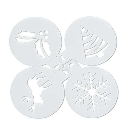 SenPuSi Plantillas para decoración de café Navidad Copos de Nieve (4 Unidades)