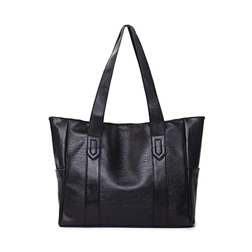 Bolsos de las señoras Bolsos de hombro de cuero de la PU bolsos de gran capacidad de la vendimia en relieve, Black (Negro) - yuery-LUM9OZ