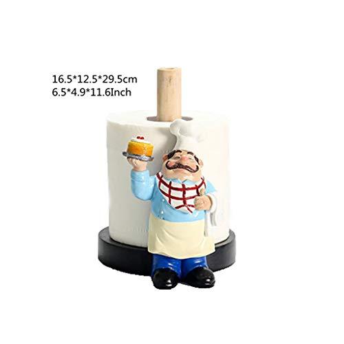 SCDZS 29,5 cm de resina Chef doble capa de papel toallero figuras creativas para el hogar, pastelería, restaurantes, manualidades, decoración (color: A)