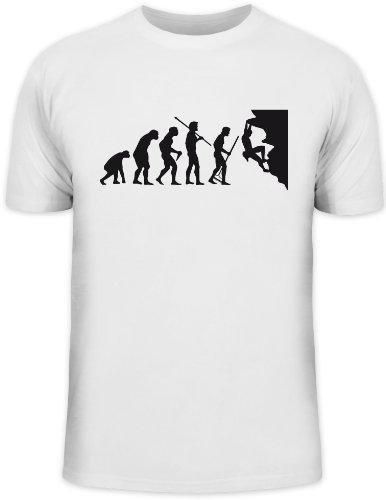 Shirtstreet24, Evolution CLIMBER, Kletter Funshirt, Größe: L,weiß