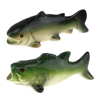 Trout Bass Fish Figure Figurine Salt & Pepper Shaker Set, Collectible Camping Cabin Lodge Fishing Decor, 2.5'