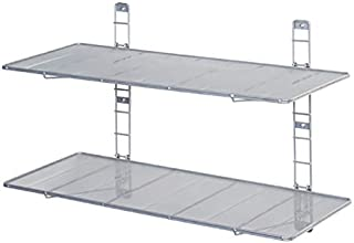 Seville Classics 2-Tier Heavy-Duty Wall Mount Floating Steel Wire Mesh Storage Shelves,
