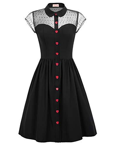 Belle Poque 1950er Abendkleid Elegant Spitzenkleid Vintag Retro Kleid Charmant Revers Kleid Schwarz BP927-1_M