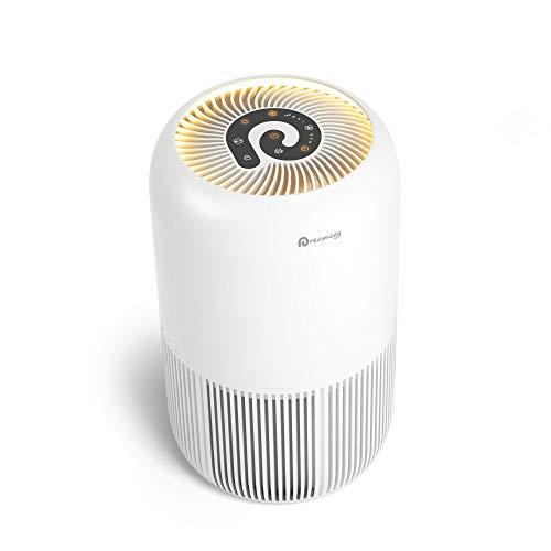 空気清浄機 Dreamegg 小型 空気清浄 18畳 花粉運転搭載・二重除菌99%微細粒子99.97%以上除去 紫外線 除菌 花粉 脱臭 集じん 4段階風量調節 静音 タイマー付き 暖色ナイトライト チャイルドロック機能 睡眠モード カビ取り 卓上 省エネ くうきせいじょうき コンパクト (18ヶ月品質保証) TR-8080B