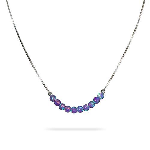Collana di perline opale viola piccolo 3 mm perlina opale gioielli minimalisti in argento sterling catena a scatola 16 pollici + estensione regalo collana donna ragazza