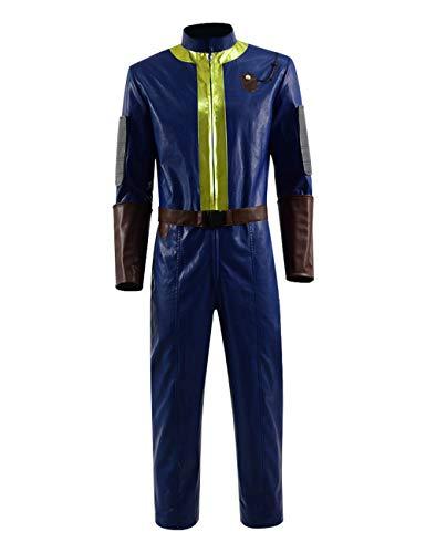 IDEALcos Fallout 76 Cosplay Kostüm Premium PU 1 Stück Outfit für Herren (XXL, Blau)