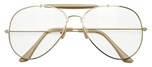 Photochromic Adaptive Clear Lens Aviator Glasses W/Sun Senor Transition Light