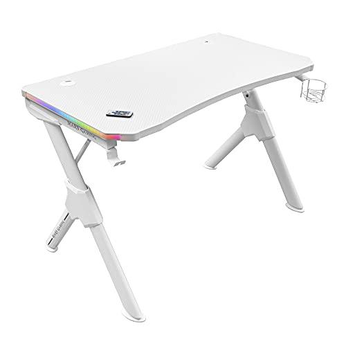 Mars Gaming MGDRGBW, Mesa Gaming RGB, Soporte Cascos + Botella, 110x60cm, Blanco