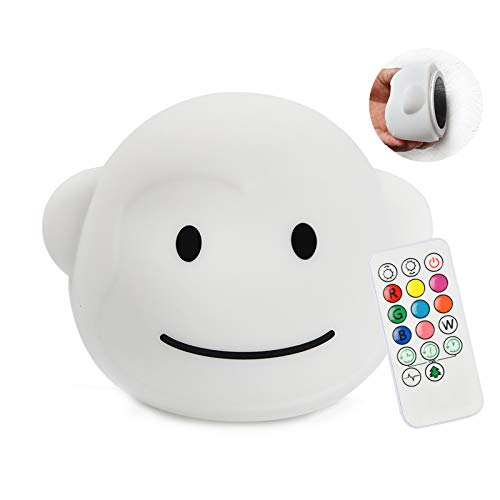 Yuede LED Nursery Night Light for Kids Cute Animal Baby Silicone Night Light with Touch Sensor and Remote Control - 9 Color Changing USB Rechargeable Infant or Toddle Night Light & Baby Gifts (Monkey)