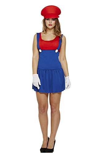 Ladies Super Mario Plumber Costume, Size 8-12. Includes blue dress with attached braces, red hat and matching vest