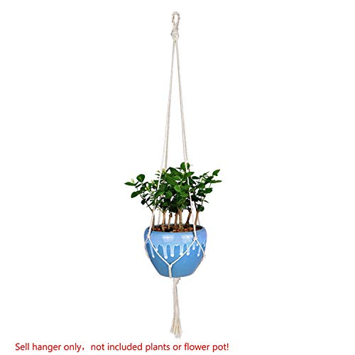 PENVEAT 1pièce macramé Plantes Cintre Crochet 4 Pieds rétro Pot de Fleurs à Suspendre Corde Corde de Support pour Home Garden Décoration de Balcon Décoration Murale, Type a 118cm, Taille Unique