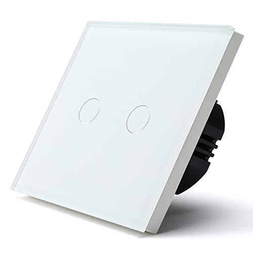 BSEED 86mm Interruptor Táctil de Uso Doméstico con Carga Resistiva 500W Pared 2 Gang 1 Vía Para Paneles de Vidrio Templado 110V-240V Blanco