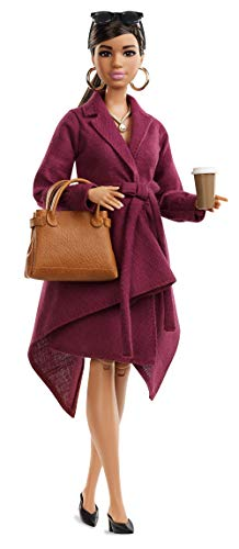 Barbie Collector: Doll Styled by Chriselle Lim, Wearing Burgundy Trench Dress, with Handbag and Coffee Cup Accessories, Doll Stand and Certificate of Authenticity