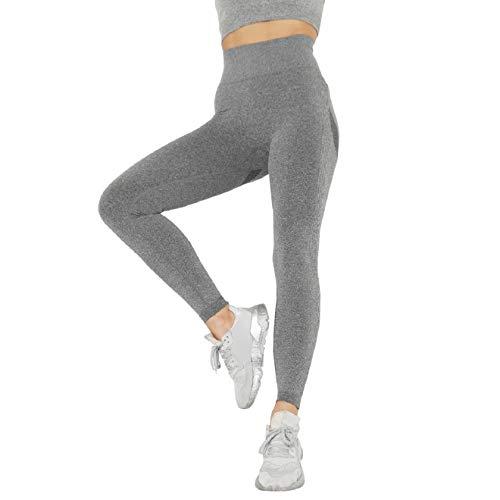 Voqeen Pantalones de Adelgazantes Push Up Mujer Leggins Reductores Adelgazantes Leggings Pantalones de Yoga Anticeluliticos Cintura Alta Mallas Fitness (Gris, S)