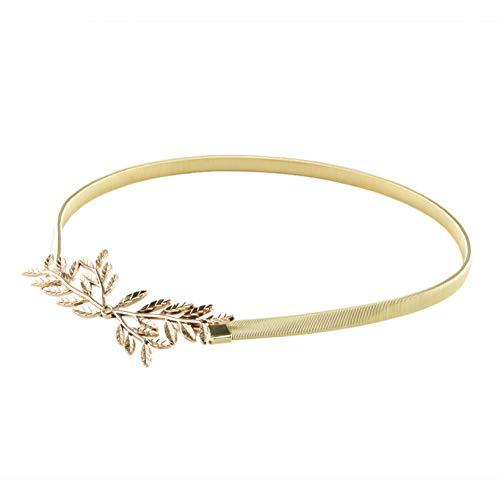 Gold Leaf Belt Metallic Skinny Waist Band Metal Elastic Dress Laurel Buckle
