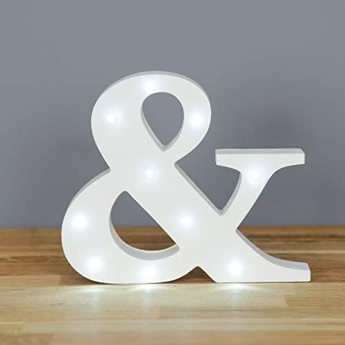 Up in Lights Muestra decorativa de madera blanca de las letras del LED - colgante de pared con pilas - Letra &
