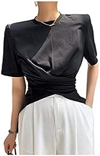 Wxcgbdx Womens T Shirts, Short-sleeved Women's Solid Color T-shirt Women's Fashion Slim Waist Loose O-neck Blouse Shirt Fo...