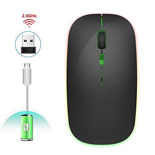 Stylelove Wireless Mouse, 2.4G Colorful Glow Wireless Mouse Mute Slim Mouse for Home Office Laptop Notebook