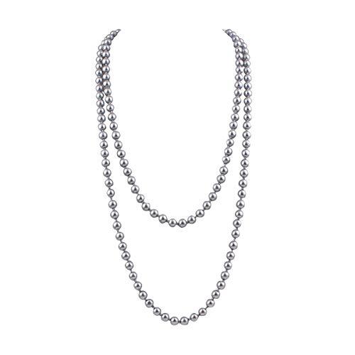 Grace Jun Creado/Faux Collar de Perlas Pendientes para Las Mujeres Fiesta Largo Collar de Perlas 55'