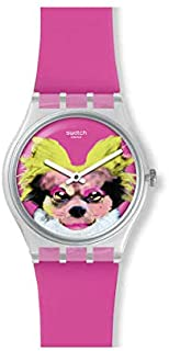 Swatch Men's Pinkapippa 34mm Silicone Band Plastic Case Quartz Watch GE267