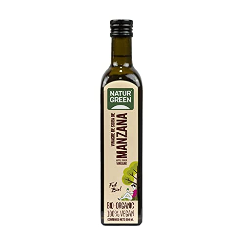 NaturGreen - Vinagre de Sidra de Manzana Bio, Producto Ecológico, Acidificación Natural, Acidez 6%, 500 Mililitros