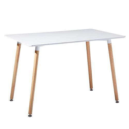 Mesa Blanca de comedor o cocina de madera. Escritorio de oficina en estilo Escandinavo. 120x70x72 cm