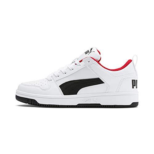 PUMA Rebound Layup Lo Sl Jr Sneaker, White Black-High Risk Red, 39 EU