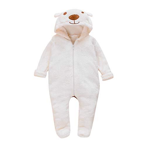 Babybekleidung Unisex, Strampler Kleinkind Säugling Baby Einfarbiges Teddy-Fleece Overalls Langarm Cartoon-Bär Hooded Strampelhose mit Fuß Reißverschluss Spielanzug (Weiß, 70)