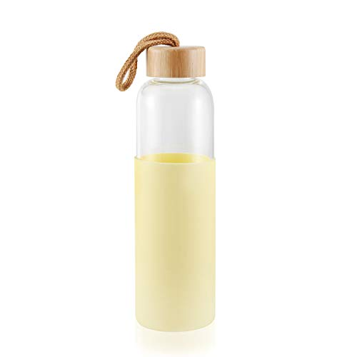 Borosilicate Glass Water Bottle with Bamboo Lid and Silicone Sleeve - Dishwasher Safe - 17oz (silicone Yellow)