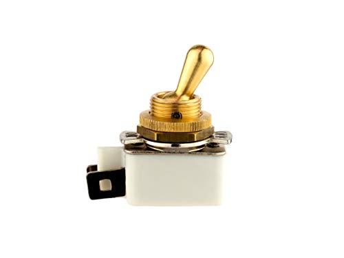 Interruptor de palanca de un solo polo (SPST), 2 Amp 250 Vac, palanca de latón y casquillo de montaje, conector Faston