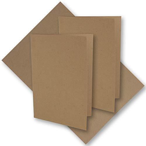 50x Vintage Kraftpapier Falt-Karten DIN A6-105 x 148 mm - sandbraun - Recycling - 220 g/m² blanko Klapp-Karten I Umwelt by Gustav NEUSER®