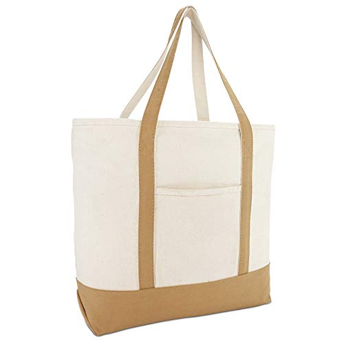 DALIX 22' Large Cotton Canvas Zippered Shopping Tote Grocery Bag in Brown