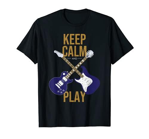 Keep Calm And Play Guitar Design Guitarrista Música Band Camiseta