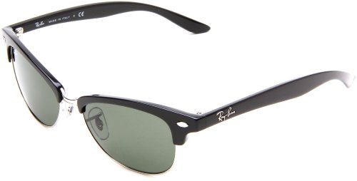 Ray-Ban RB4132 Clubmaster Sunglasses 52 mm, Non-Polarized, Black Silver/Greeen: Ray-Ban