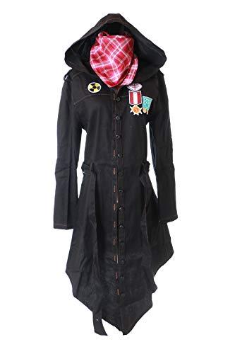 Kawaii-Story MN-91 PUBG Playerunknown's Battlegrounds schwarz Jeans Jacke Kapuzen Mantel mit Halstuch Kostüm Cosplay (L)