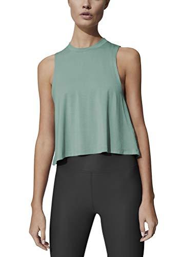 Mippo Womens Cropped Tank Top Cute Crop Top Workout Shirt Womens Activewear High Neck Tank Top Sleeveless Yoga Tops Cute Gym Shirts Gray Green Tops for Women Gray Green S