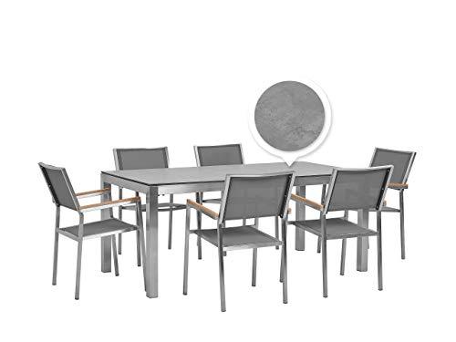 Beliani Conjunto de jardín Mesa Efecto hormigón 6 sillas Grises GROSSETO