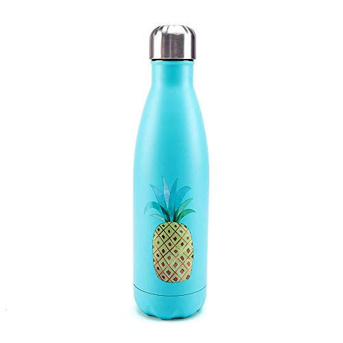 Hydra Hero 17oz Stainless Steel Insulated Water Bottle Llama | Unicorn | Flamingo | Thin Blue Line | Pineapple | Toucan Gifts Ideas | BPA free | Keeps drinks Hot or Cold | (Mint Pineapple)
