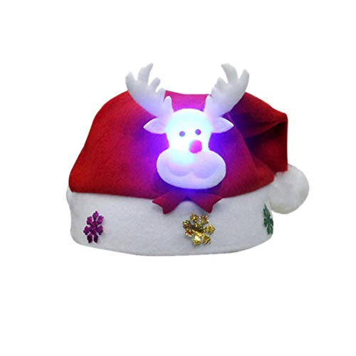 Clearance!!! Kids Christmas Cap MOSE Christmas LED Winter Reindeer Snowman Xmas Gifts Hat (C)