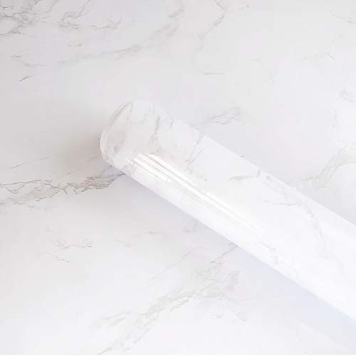 Marble Contact Paper Granite Grey/White Marble Vinyl Film Self Adhesive Wallpaper for Kitchen Cabinet Countertops Furniture Renovated White Marble Wallpaper Shelf Paper Waterproof Removable15.8'x118'