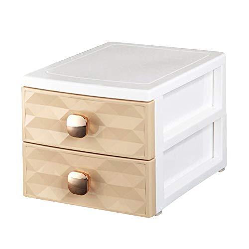 N / B Caja de Organizador de joyería de 2 cajones, Organizador de Maquillaje de Moda Compacto, diseño de Perilla es fácil de retirarse, Adecuado para Sala de Estar de Oficina