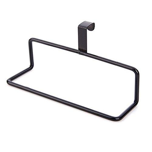 RENJUN Toallero de barra trasera de hierro tipo toallero sin tachuelas negro cocina 19 cm para baño torre colgador