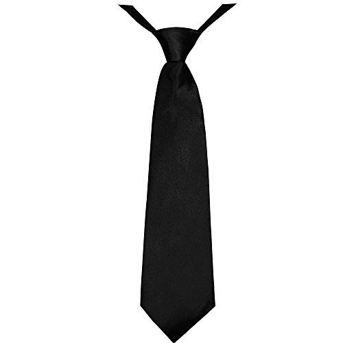 Soul-Cats® Jungen Krawatte 35 cm vorgebunden Seiden Look Hochzeit Kommunion Jugendweihe, Farbe:Schwarz